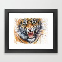 Tiger Watercolor Painting Framed Art Print