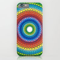 iPhone Cases featuring Happy Rainbow Mandala by Elspeth McLean