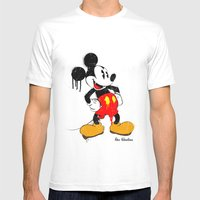 Mickey The Warrior Mouse Mens Fitted Tee White SMALL