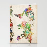 World Map Floral Stationery Cards