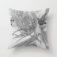 Fall of Queen's city / Original A4 Illustration / Pen & Ink Throw Pillow