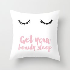Beauty Sleep Pink Typogr… Throw Pillow