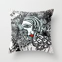 Girl in Bird Throw Pillow