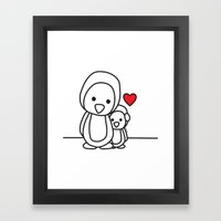 Penguin Sweetness Framed Art Print