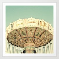 Fair Ride in Aqua Art Print