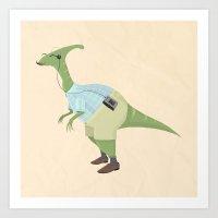 Hipster Dinosaur jams to some indie tunes on his walkman Art Print