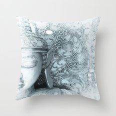 Fade to White Budda Throw Pillow