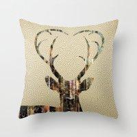 Deer Gold Throw Pillow