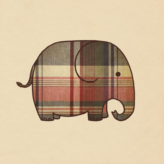 Plaid Elephant  Canvas Print