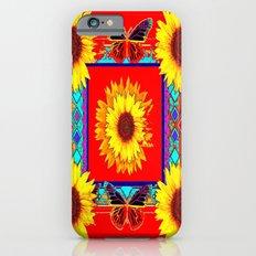 Sunflowers & Dark Butterflies Red Western Art Slim Case iPhone 6s