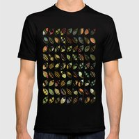 Pop Leaves Mens Fitted Tee Black SMALL