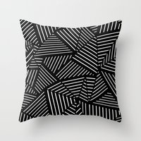 Ab Linear Oom Black Throw Pillow