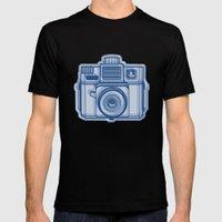 I Still Shoot Film Holga Logo - Reversed Blue Mens Fitted Tee Black SMALL