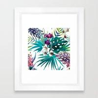 Tropical Watercolor Pattern Framed Art Print