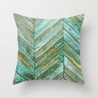 Vintage Blue Wood Throw Pillow