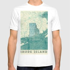 Rhode Island State Map Blue Vintage Mens Fitted Tee SMALL White