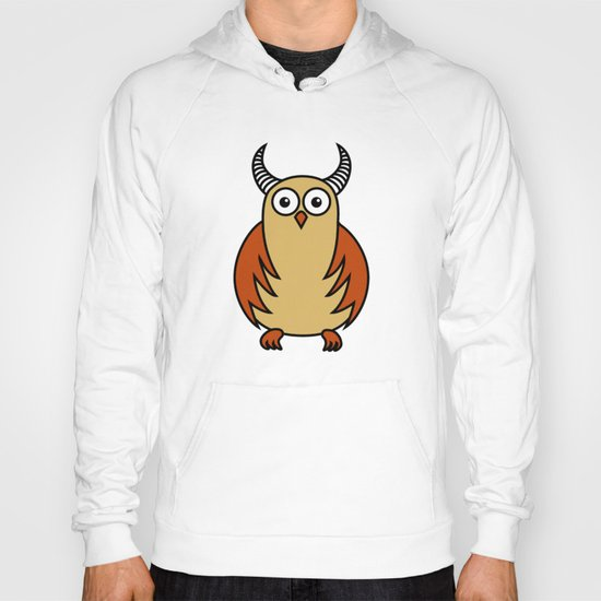 Funny Cartoon Horned Owl  Hoody