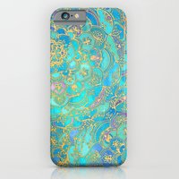 mermaid iPhone & iPod Cases featuring Sapphire & Jade Stained Glass Mandalas by micklyn