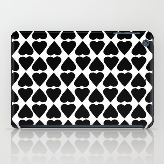 Diamond Hearts Repeat Black iPad Case