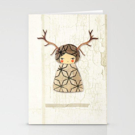 Deer paperdolls Stationery Card