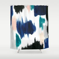 Blue Abstract Painting Shower Curtain