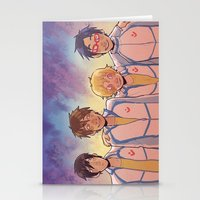 anime Stationery Cards featuring swimming anime by Tyler Long