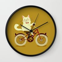 White cat on a bicycle Wall Clock