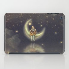 Story about boy who play guitar on moon iPad Case