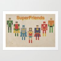 Retro SuperFriends Art Print