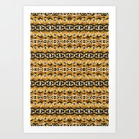Montana Stripe - Gold Art Print