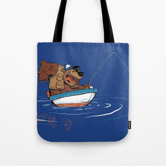Bear Fishing Tote Bag