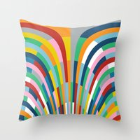 Rainbow Bricks Throw Pillow