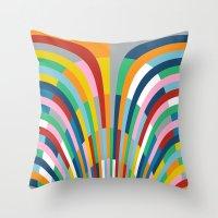 Rainbow Bricks Throw Pillow