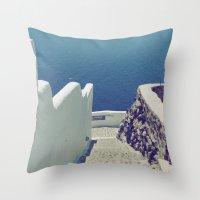 Santorini Stairs III Throw Pillow