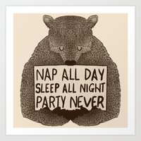 Nap All Day Sleep All Ni… Art Print