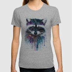 Raccoon Womens Fitted Tee Athletic Grey SMALL