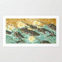 Narwhals! Art Print