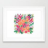White Floral Framed Art Print