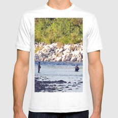 Salmon Fishing Mens Fitted Tee White SMALL