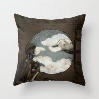 Aviator Girl (Steampunk) Throw Pillow