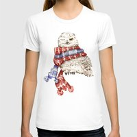 Winking Arctic Owl in Scarf Womens Fitted Tee White SMALL