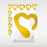 Gold Hearts On White - L… Shower Curtain