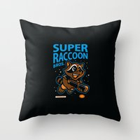 Super Raccoon Throw Pillow