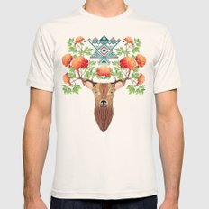 deer flowers Mens Fitted Tee Natural SMALL