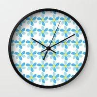 Blue Flower Pattern Wall Clock