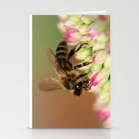 Bee on Flowers. Stationery Cards