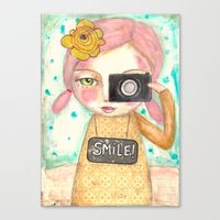 Smile ! Girl With Photo … Canvas Print