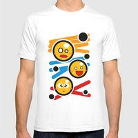 Happy Smiley Trio Mens Fitted Tee White SMALL