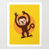 monkey Art Prints featuring Monkey by BATKEI