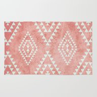 Mint & Coral Tribal Patt… Rug